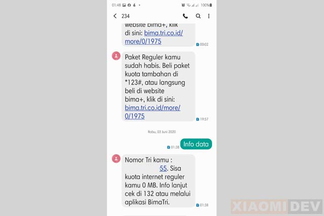 Cara Mengecek Pulsa Tri Lewat SMS