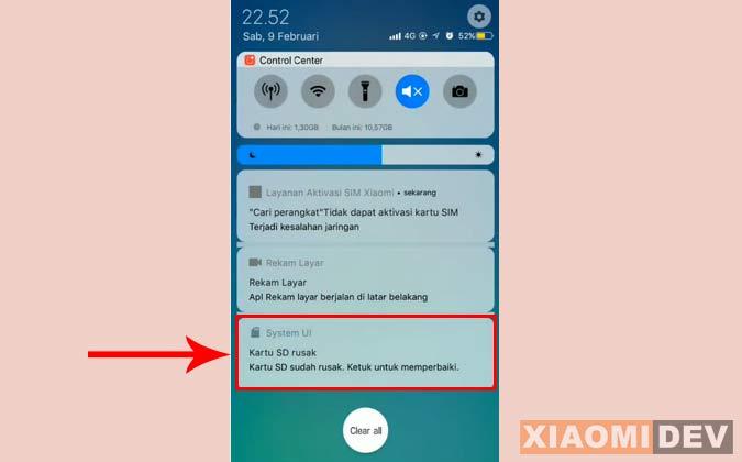 Kartu SD Xiaomi Rusak